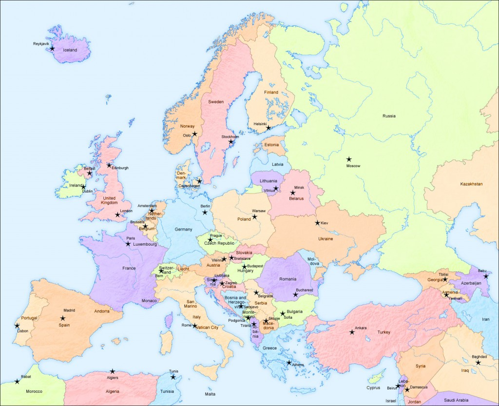 Map of Europe Countries - Detailed political map of Europe